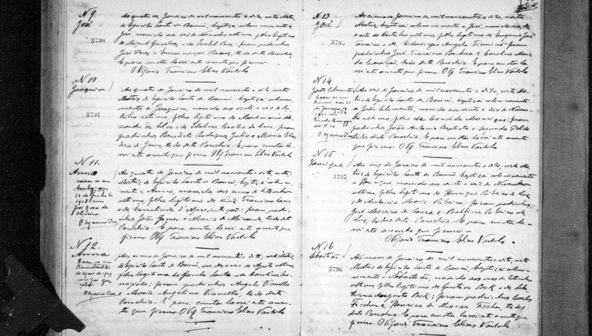 Registro de batismo e Henrique Ribeiro em Bauru (Reprodução)