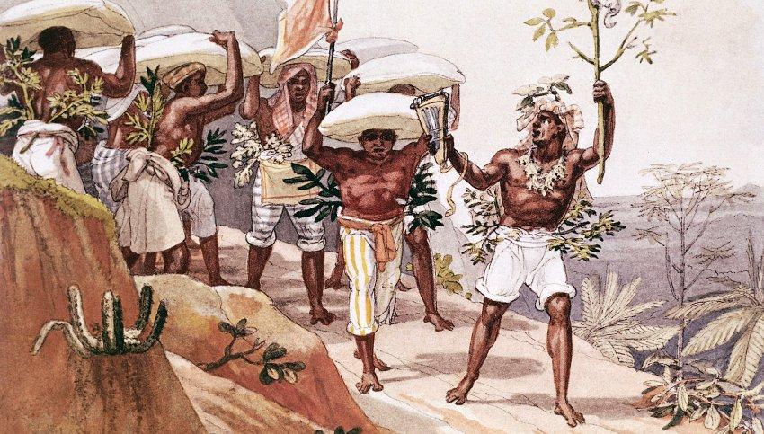 Obra de Jean-Baptiste Debret retratando a escravidão no Brasil.